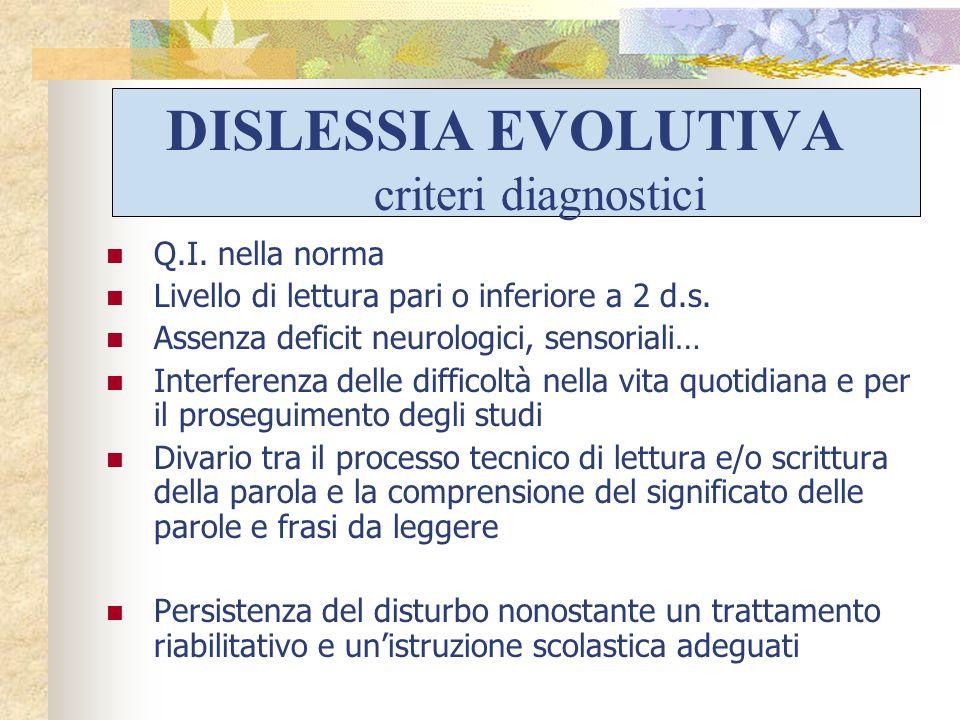 DISLESSIA EVOLUTIVA criteri diagnostici