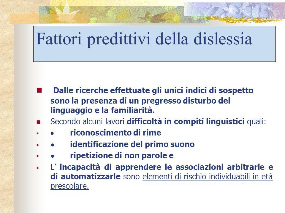 Fattori predittivi della dislessia
