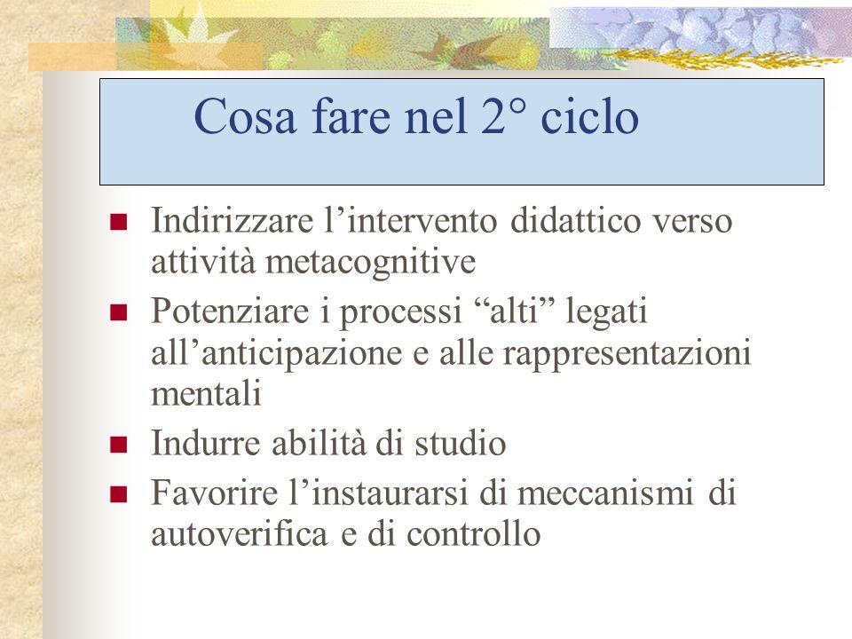 Cosa fare nel 2° ciclo Indirizzare l'intervento didattico verso attività metacognitive.