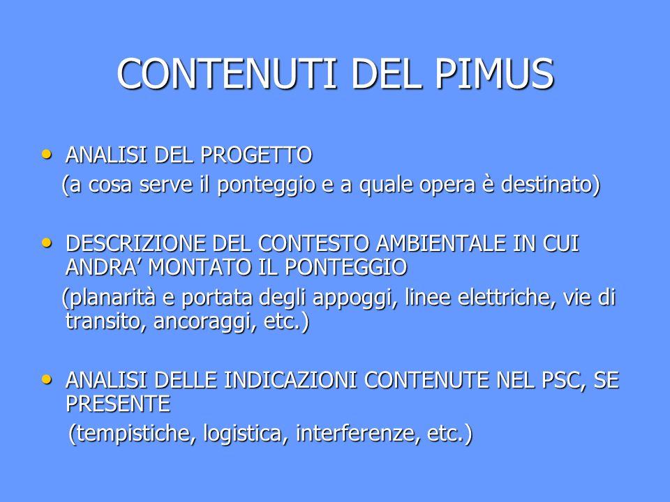 CONTENUTI DEL PIMUS ANALISI DEL PROGETTO