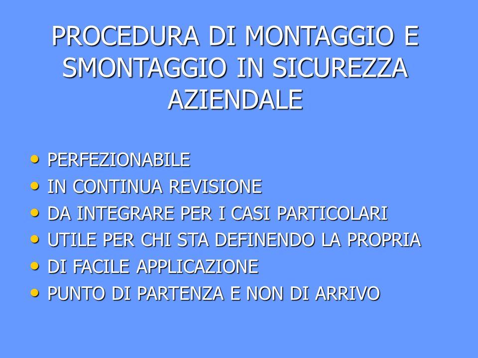 PROCEDURA DI MONTAGGIO E SMONTAGGIO IN SICUREZZA AZIENDALE