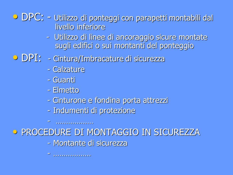 DPI: - Cintura/Imbracature di sicurezza