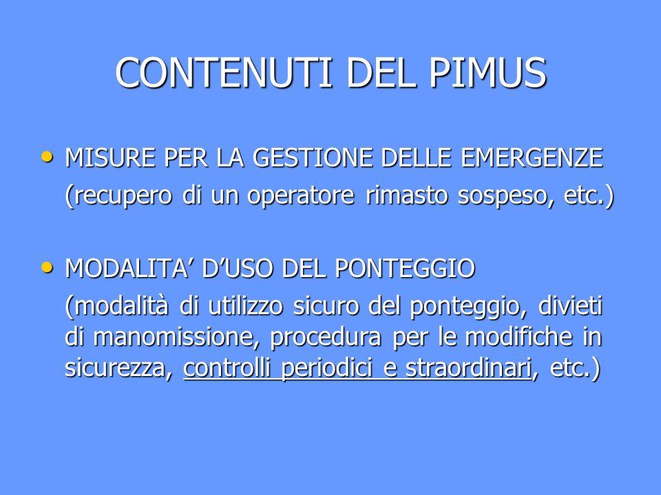 CONTENUTI DEL PIMUS MISURE PER LA GESTIONE DELLE EMERGENZE