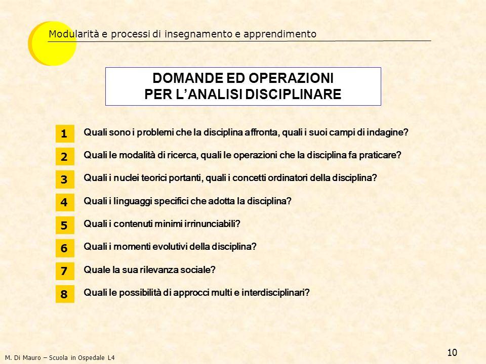 DOMANDE ED OPERAZIONI PER L'ANALISI DISCIPLINARE