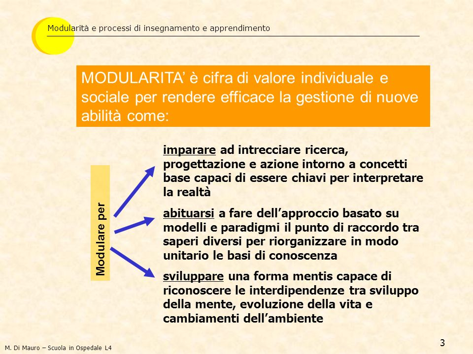 Modularità e processi di insegnamento e apprendimento