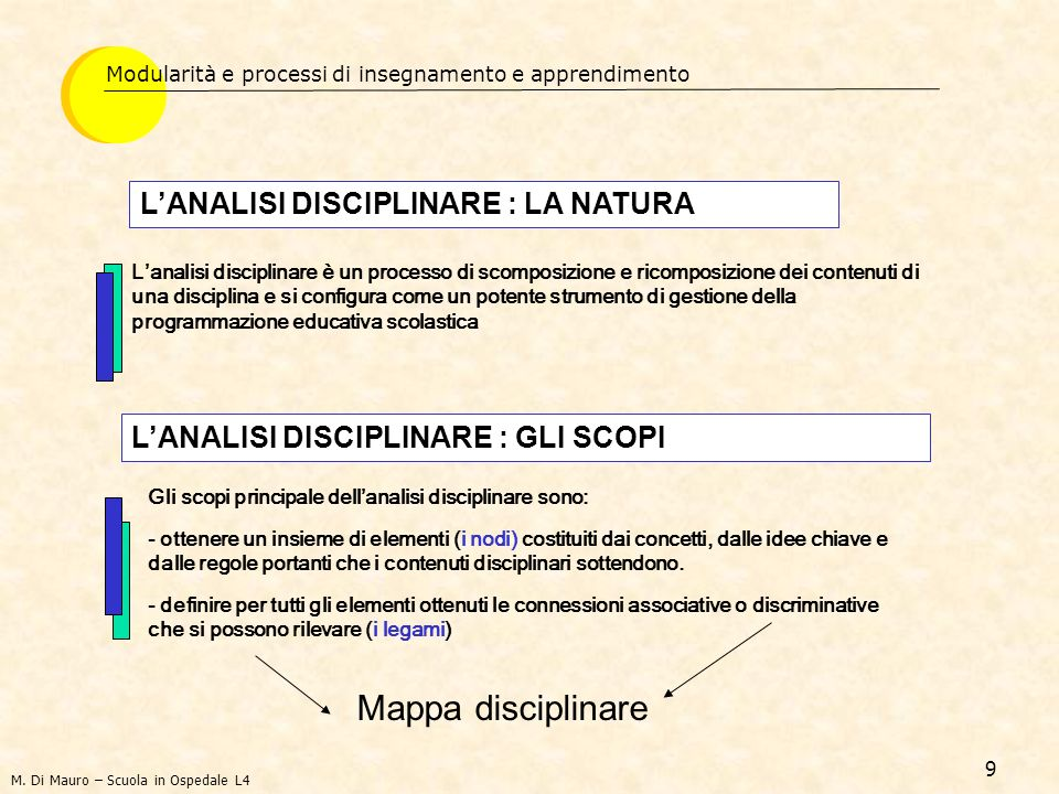Mappa disciplinare L'ANALISI DISCIPLINARE : LA NATURA