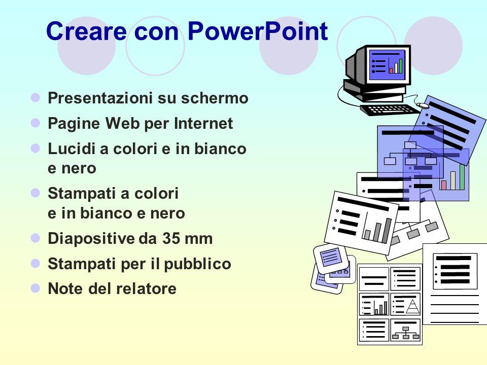 Creare con PowerPoint Presentazioni su schermo Pagine Web per Internet