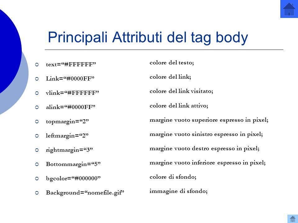 Principali Attributi del tag body