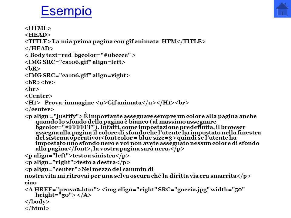 Esempio <HTML> <HEAD>