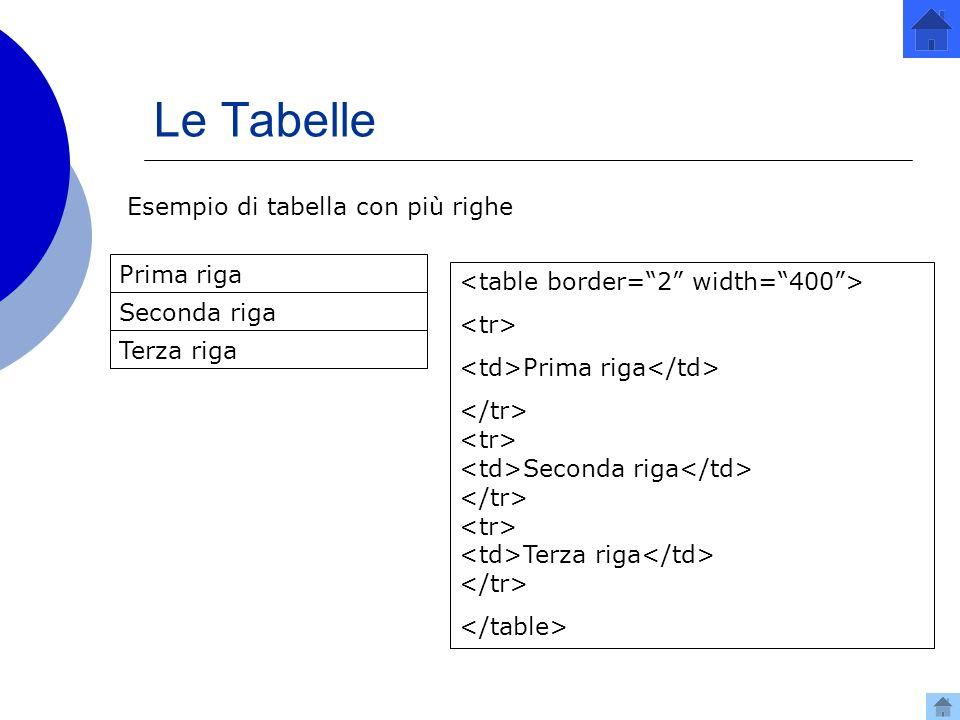 Le Tabelle Esempio di tabella con più righe Prima riga