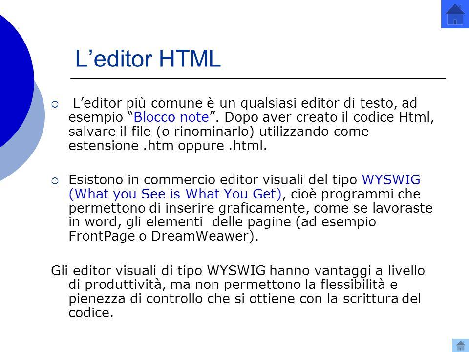 L'editor HTML