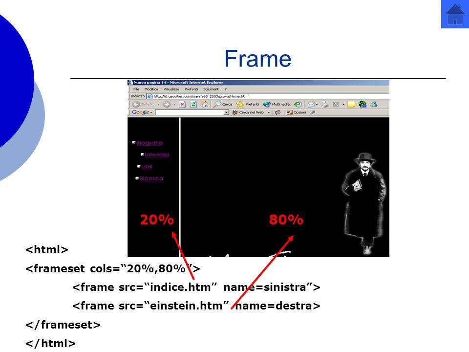 Frame 20% 80% <html> <frameset cols= 20%,80% >