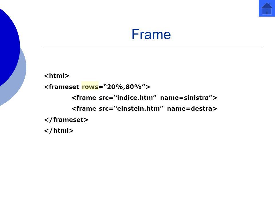 Frame <html> <frameset rows= 20%,80% >