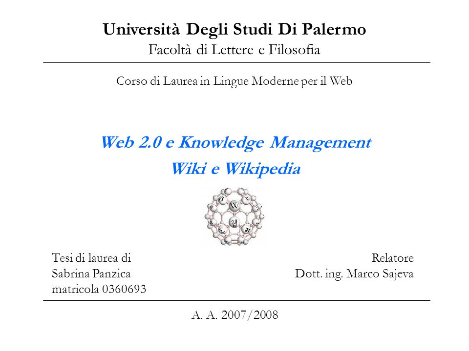 Web 2.0 e Knowledge Management Wiki e Wikipedia