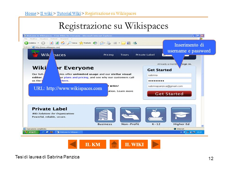 Registrazione su Wikispaces