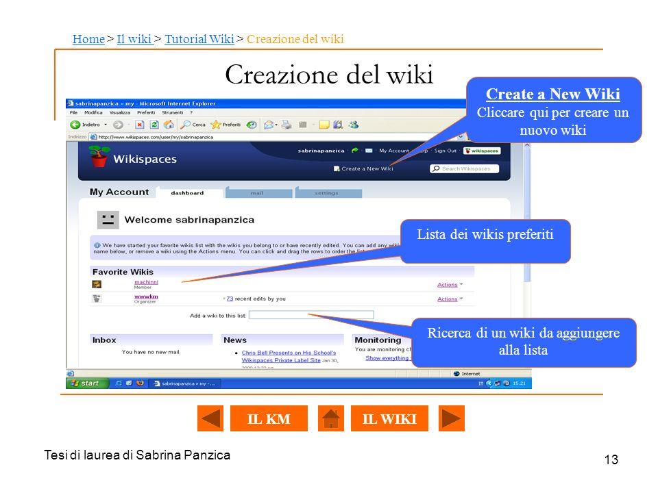 Creazione del wiki Create a New Wiki