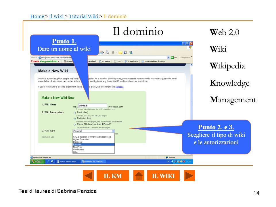 Il dominio Web 2.0 Wiki Wikipedia Knowledge Management Punto 1.