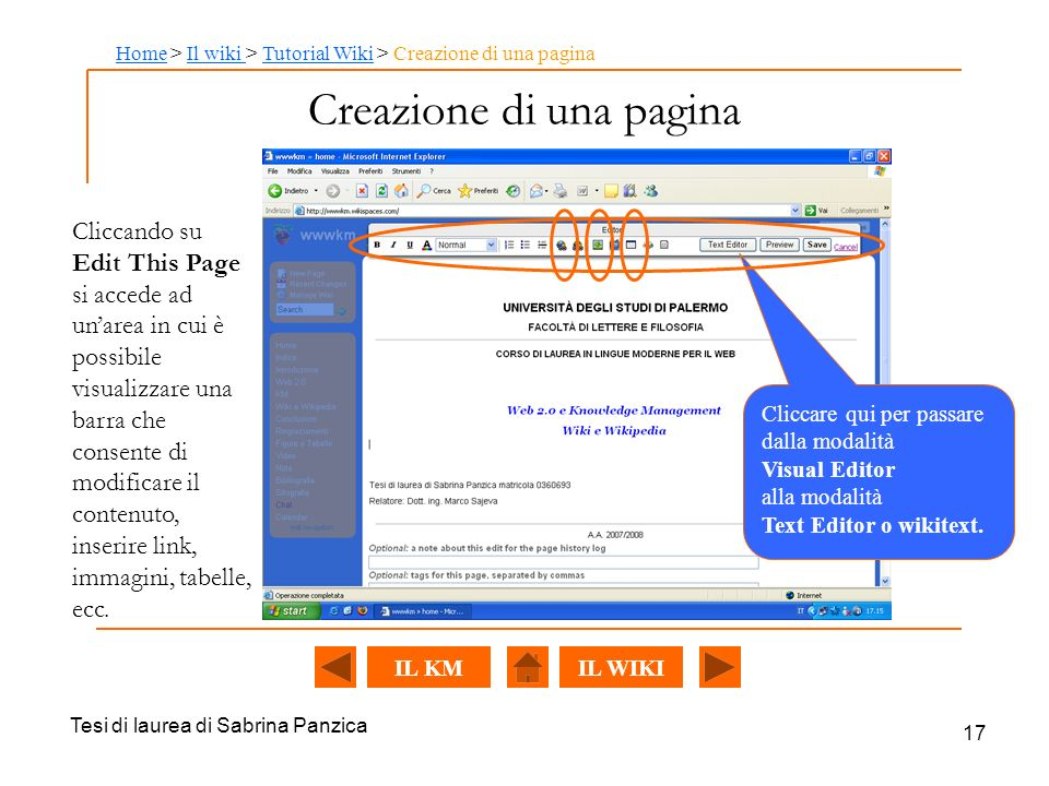 Creazione di una pagina