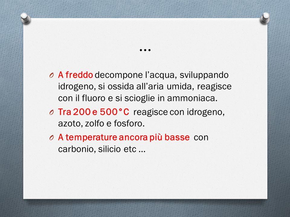 … A freddo decompone l'acqua, sviluppando idrogeno, si ossida all'aria umida, reagisce con il fluoro e si scioglie in ammoniaca.