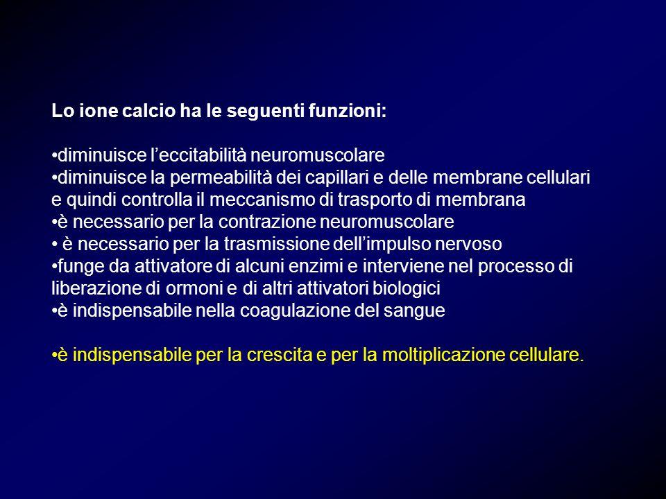 Lo ione calcio ha le seguenti funzioni: