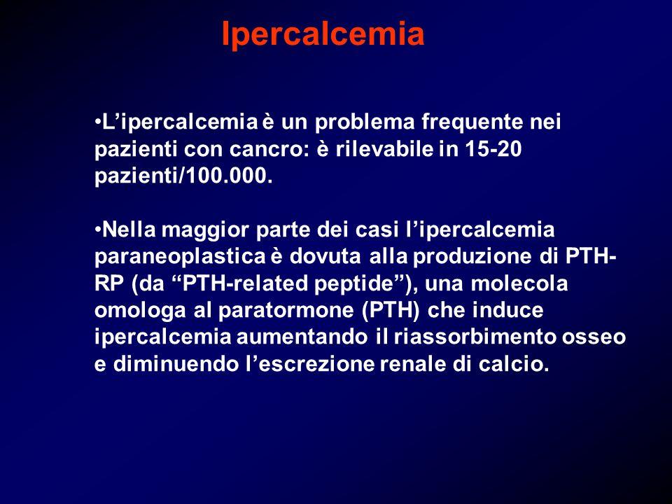 Ipercalcemia L'ipercalcemia è un problema frequente nei pazienti con cancro: è rilevabile in 15-20 pazienti/100.000.