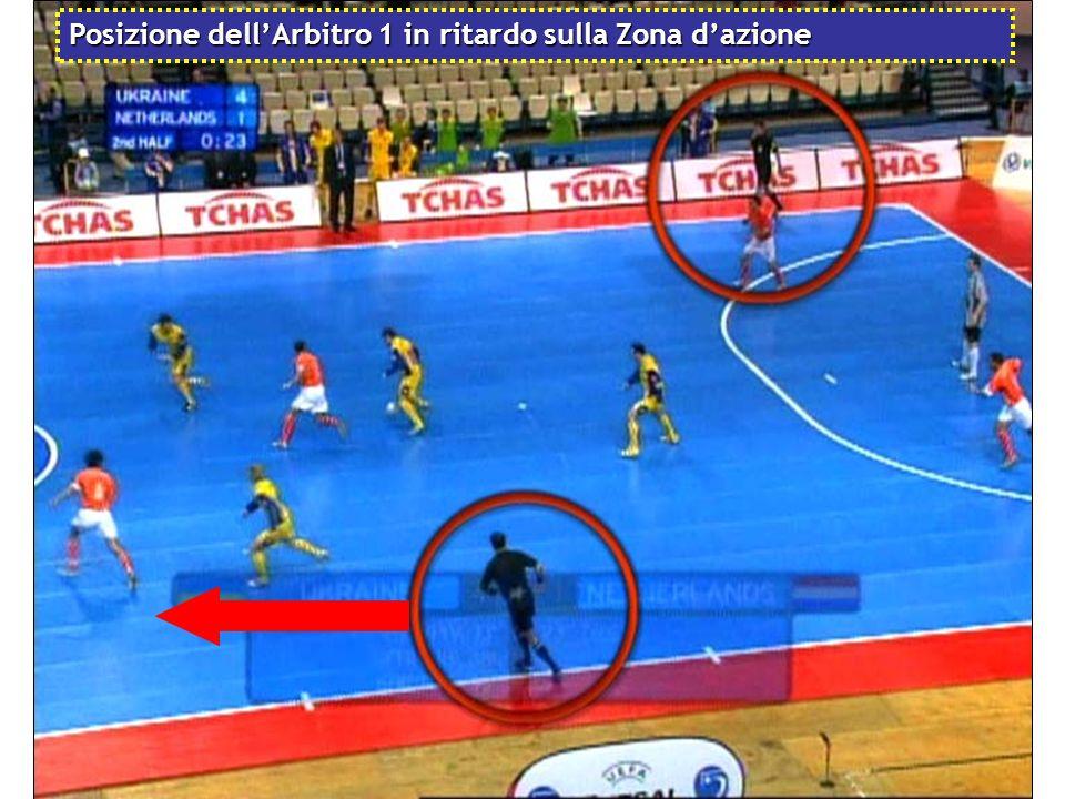 Posizione dell'Arbitro 1 in ritardo sulla Zona d'azione