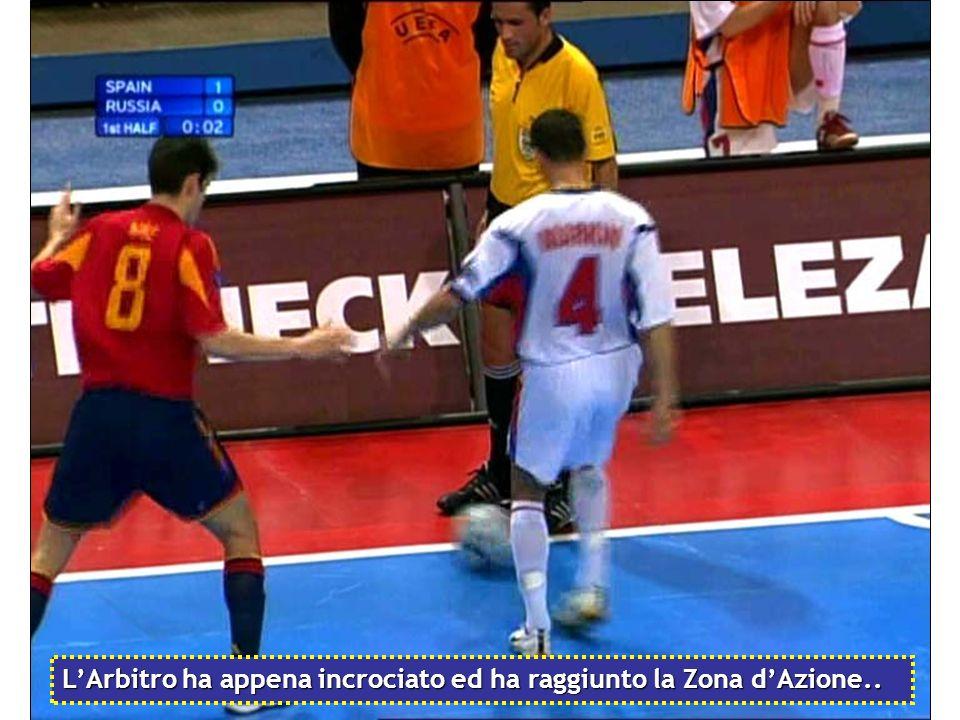 L'Arbitro ha appena incrociato ed ha raggiunto la Zona d'Azione..