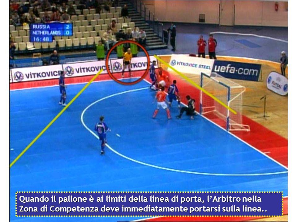 Quando il pallone è ai limiti della linea di porta, l'Arbitro nella Zona di Competenza deve immediatamente portarsi sulla linea..