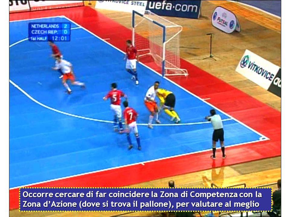 Occorre cercare di far coincidere la Zona di Competenza con la Zona d'Azione (dove si trova il pallone), per valutare al meglio