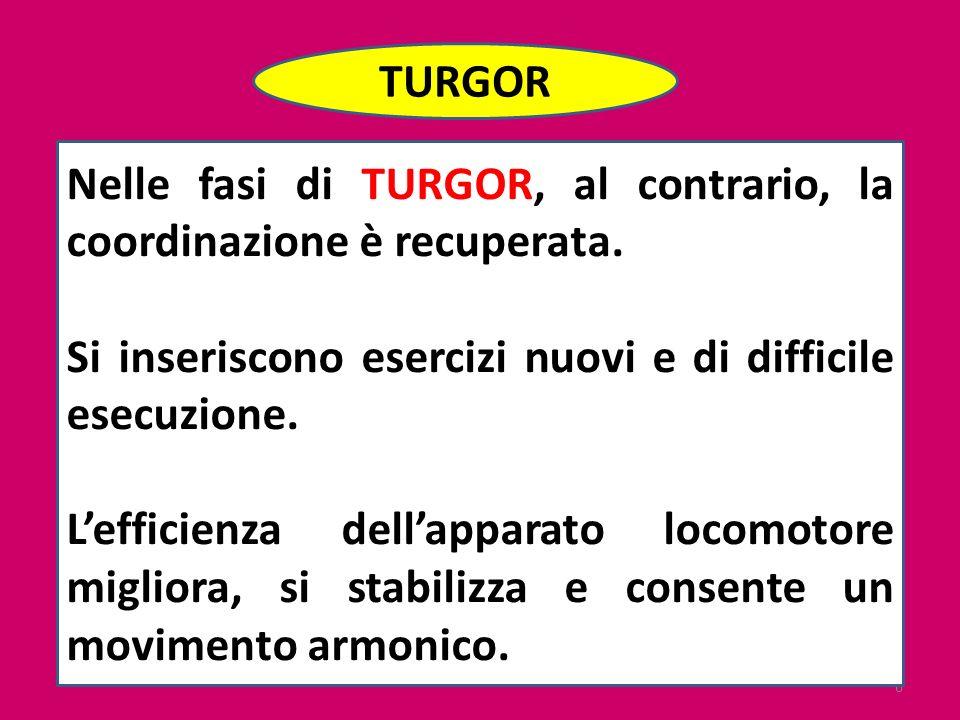 TURGOR Nelle fasi di TURGOR, al contrario, la coordinazione è recuperata. Si inseriscono esercizi nuovi e di difficile esecuzione.
