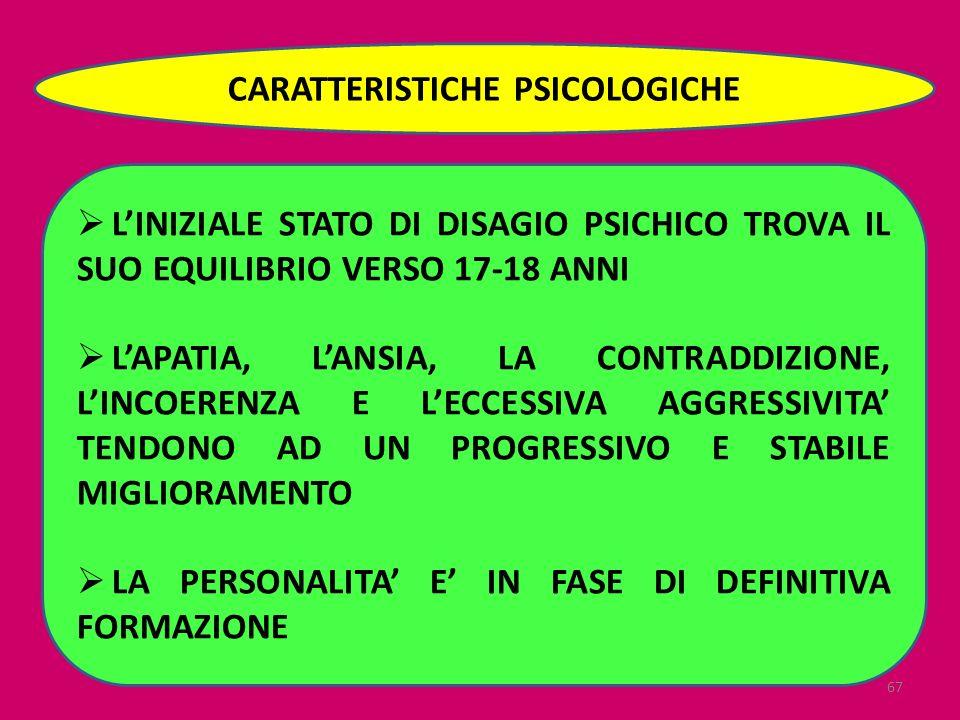 CARATTERISTICHE PSICOLOGICHE