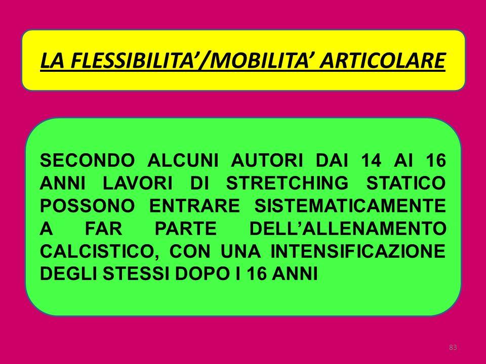 LA FLESSIBILITA'/MOBILITA' ARTICOLARE