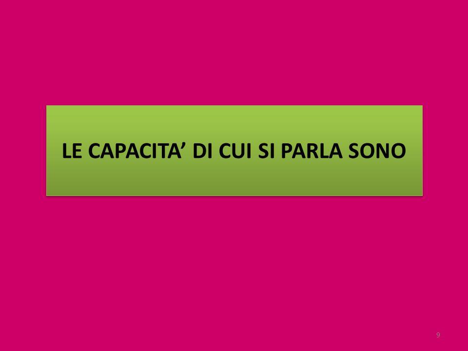 LE CAPACITA' DI CUI SI PARLA SONO