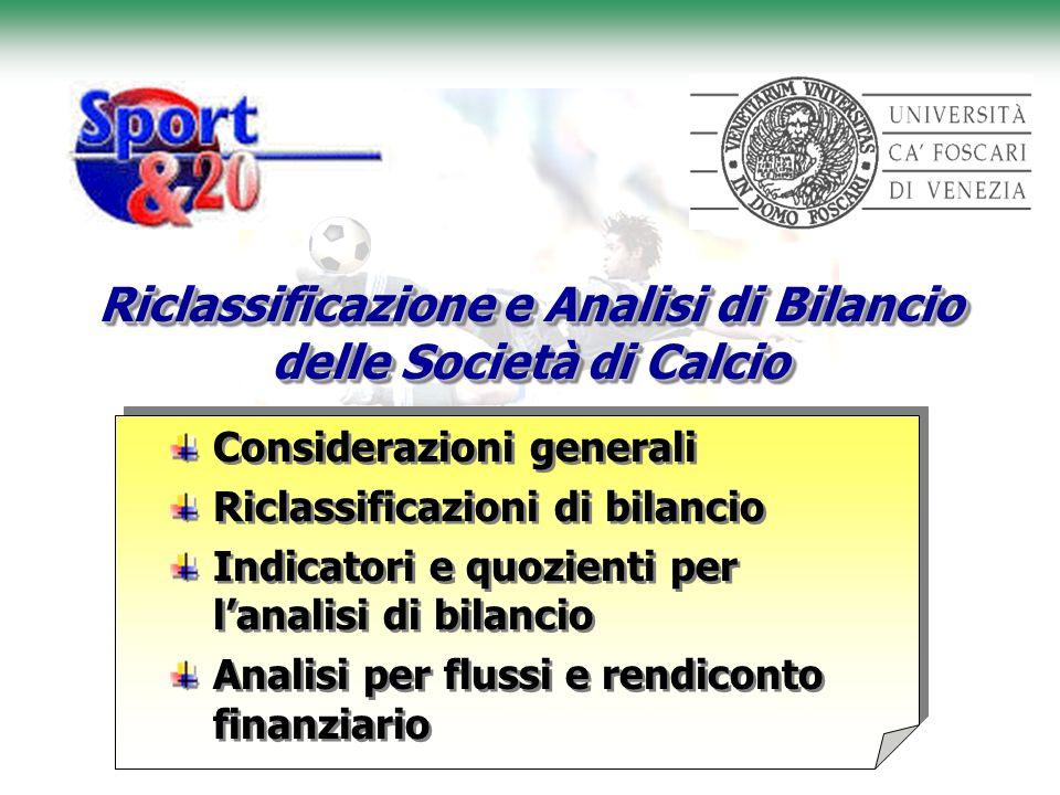 Riclassificazione e Analisi di Bilancio delle Società di Calcio
