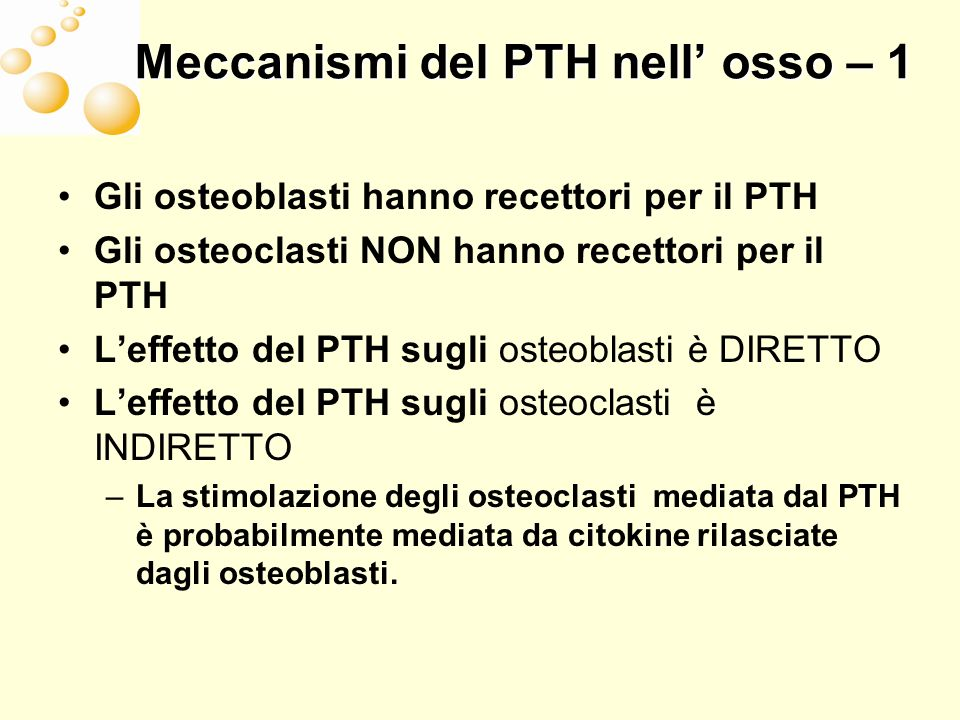 Meccanismi del PTH nell' osso – 1