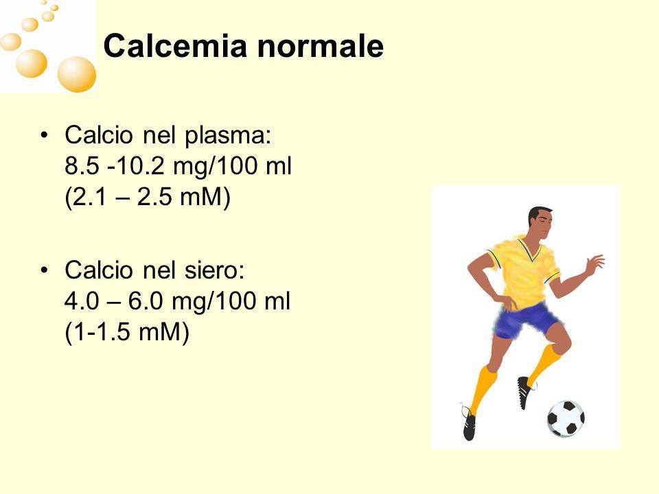 Calcemia normale Calcio nel plasma: 8.5 -10.2 mg/100 ml (2.1 – 2.5 mM)