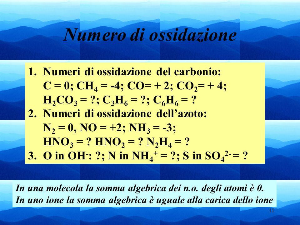 Numero di ossidazioneNumeri di ossidazione del carbonio: C = 0; CH4 = -4; CO= + 2; CO2= + 4;