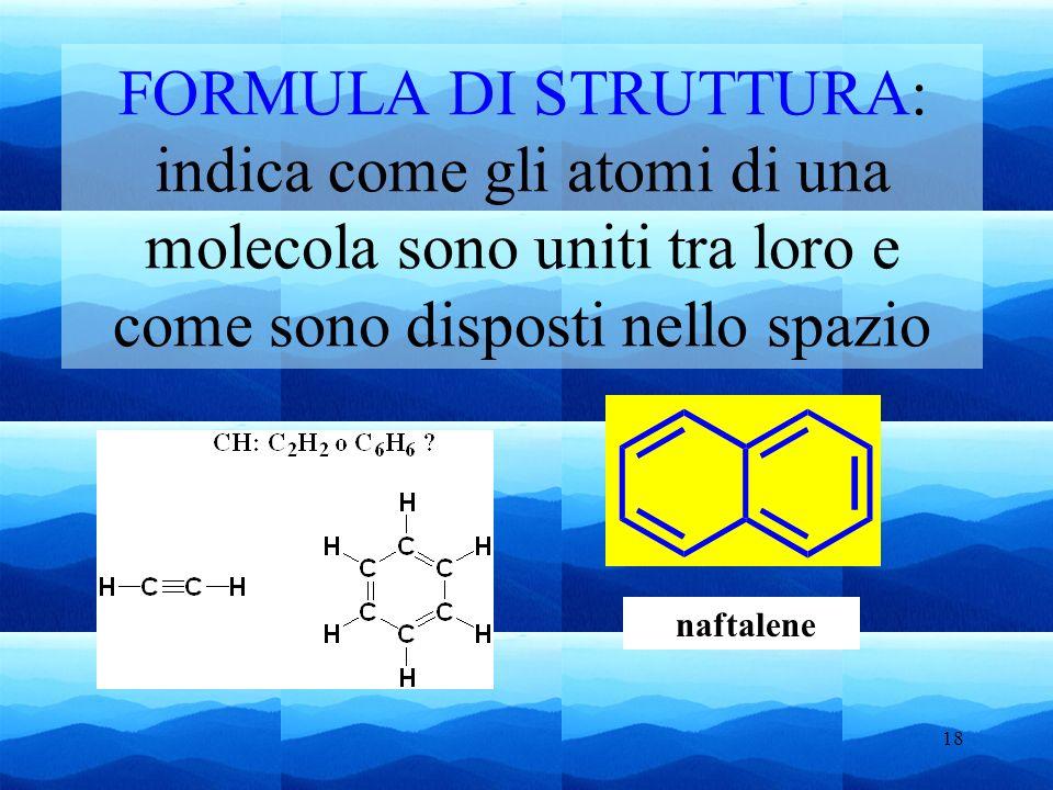 FORMULA DI STRUTTURA: indica come gli atomi di una molecola sono uniti tra loro e come sono disposti nello spazio