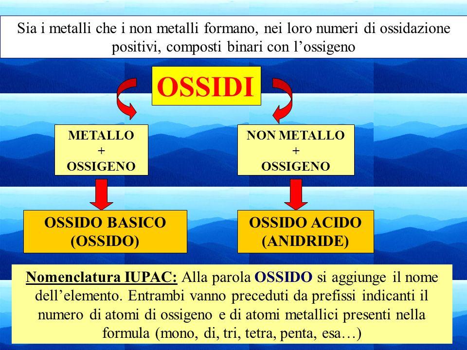 Sia i metalli che i non metalli formano, nei loro numeri di ossidazione positivi, composti binari con l'ossigeno