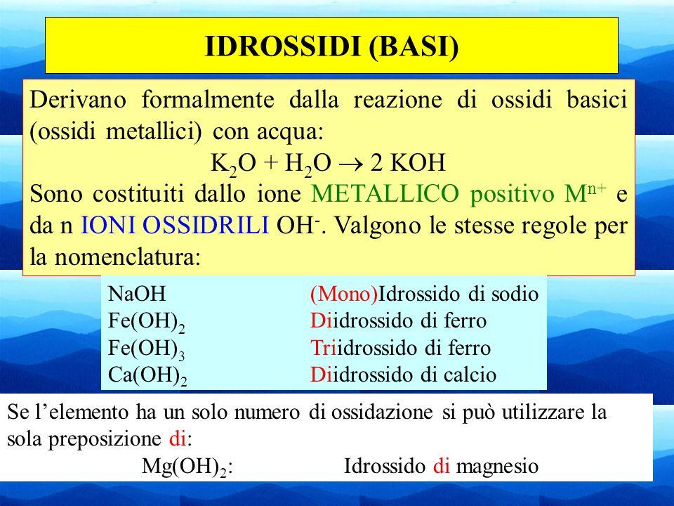 IDROSSIDI (BASI)Derivano formalmente dalla reazione di ossidi basici (ossidi metallici) con acqua: K2O + H2O  2 KOH.