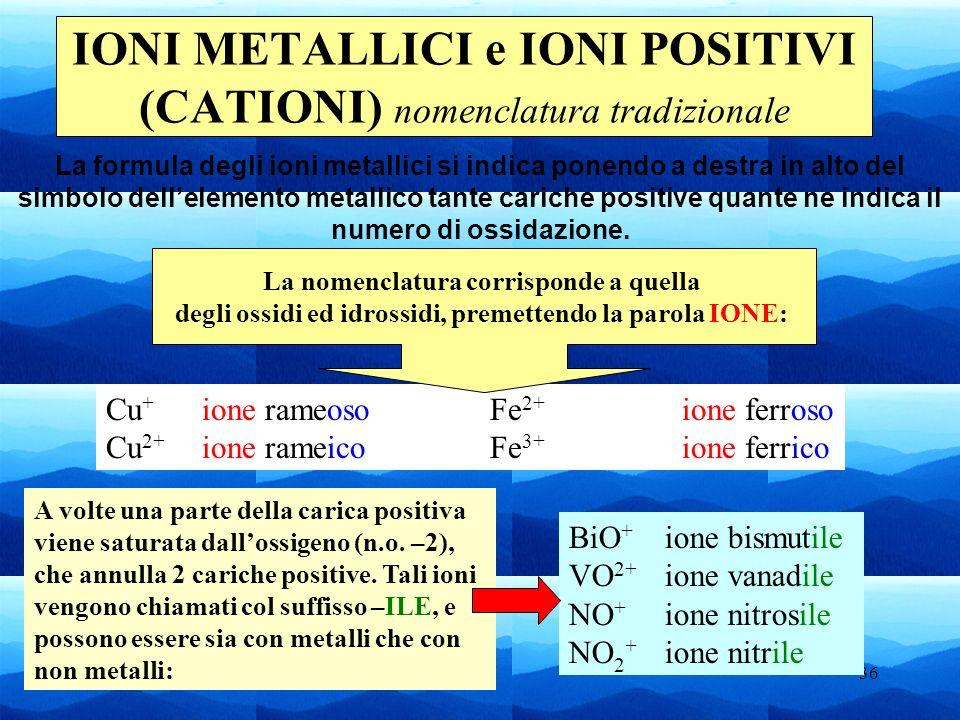 IONI METALLICI e IONI POSITIVI (CATIONI) nomenclatura tradizionale