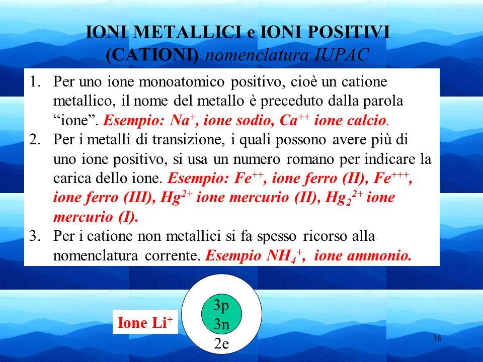 IONI METALLICI e IONI POSITIVI (CATIONI) nomenclatura IUPAC
