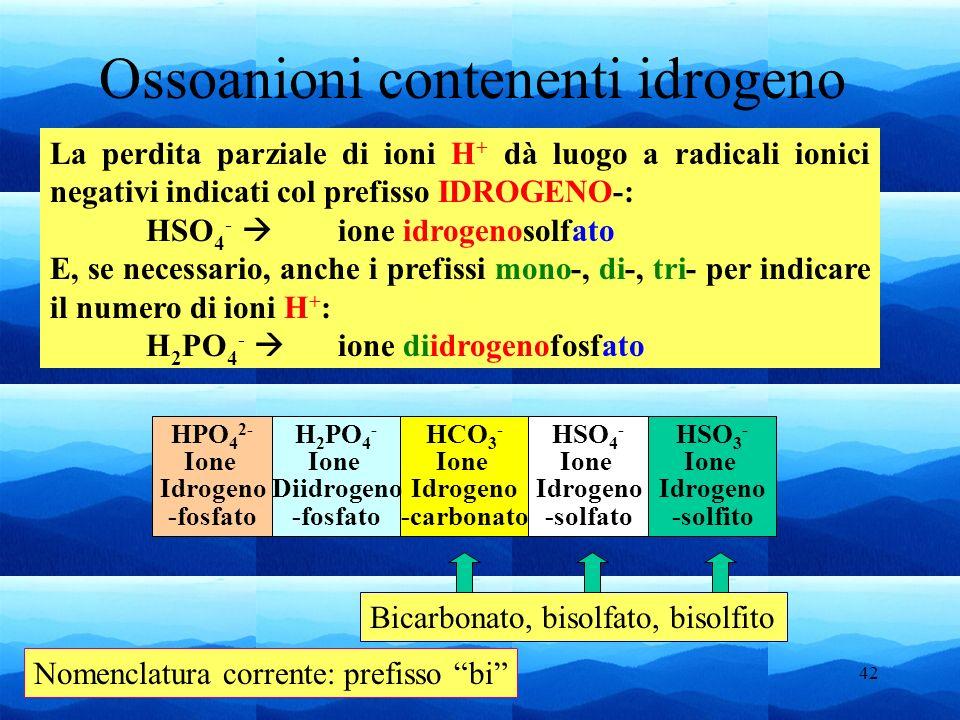 Ossoanioni contenenti idrogeno