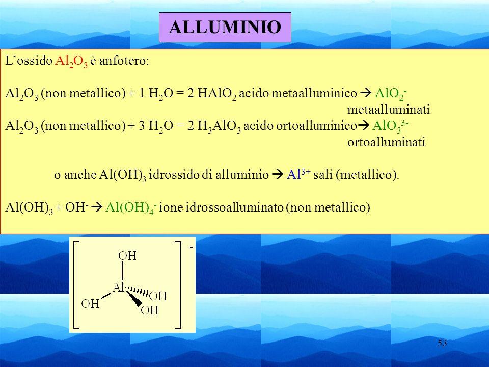 ALLUMINIO L'ossido Al2O3 è anfotero: