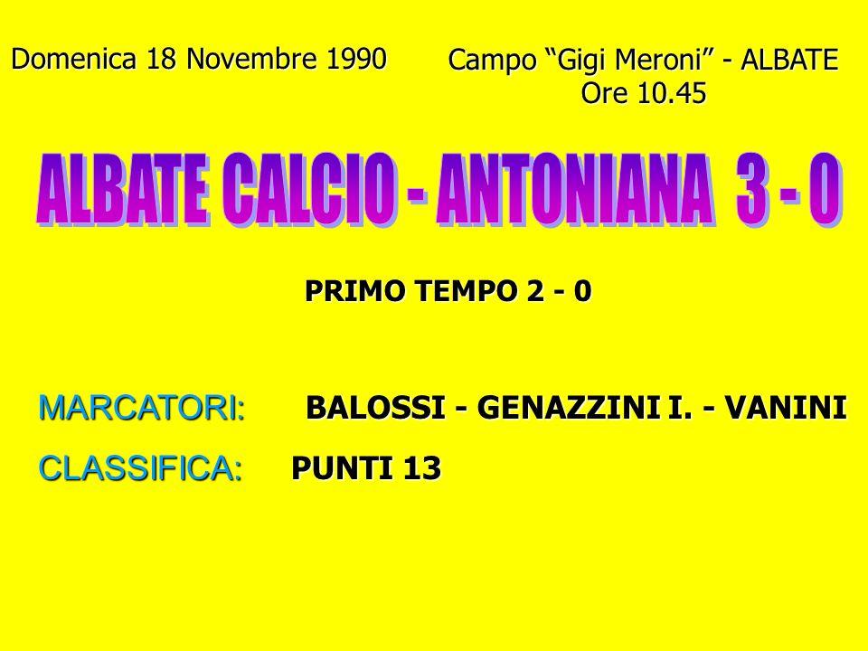 ALBATE CALCIO - ANTONIANA 3 - 0