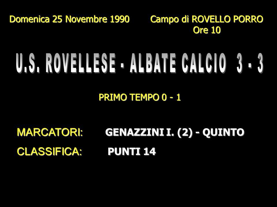U.S. ROVELLESE - ALBATE CALCIO 3 - 3