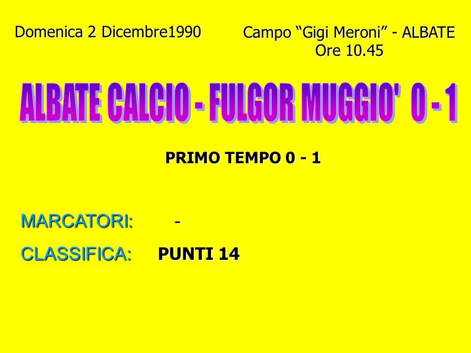 ALBATE CALCIO - FULGOR MUGGIO 0 - 1