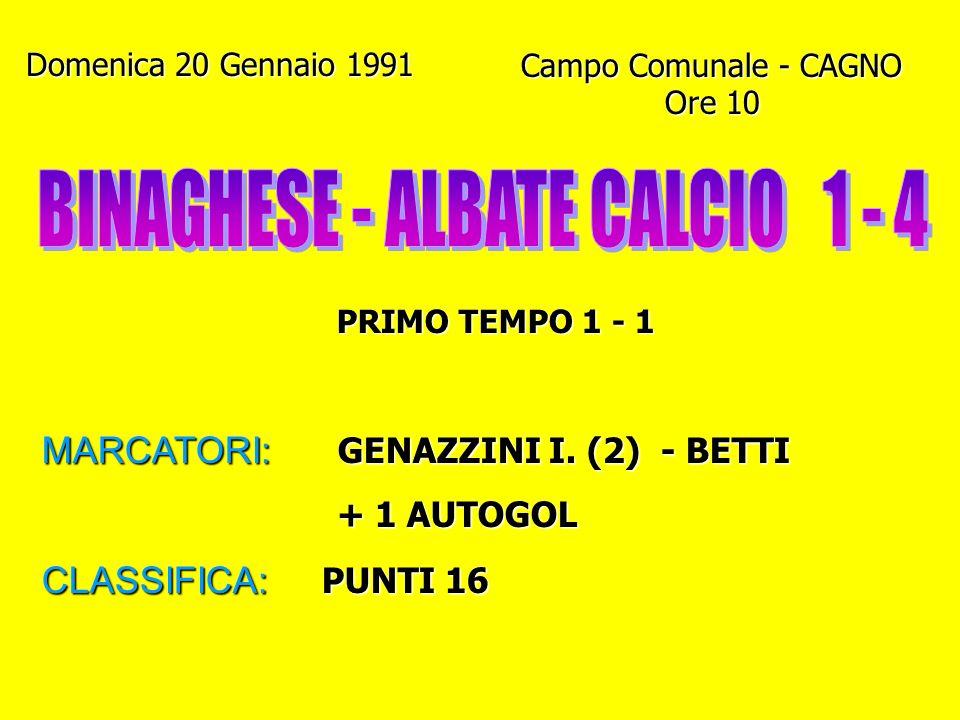 BINAGHESE - ALBATE CALCIO 1 - 4
