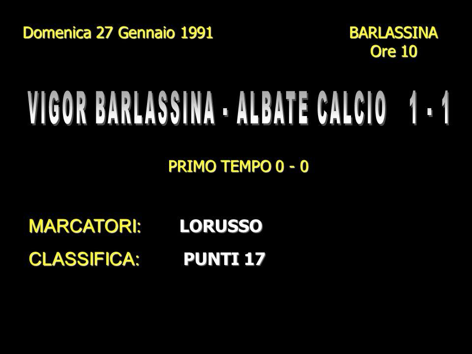 VIGOR BARLASSINA - ALBATE CALCIO 1 - 1