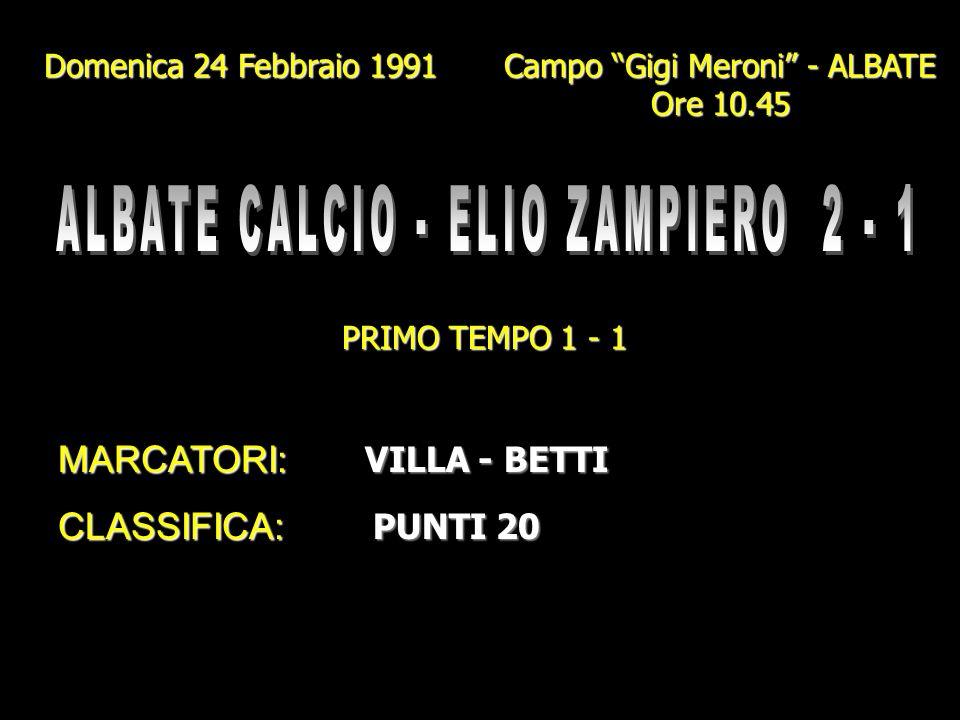 ALBATE CALCIO - ELIO ZAMPIERO 2 - 1